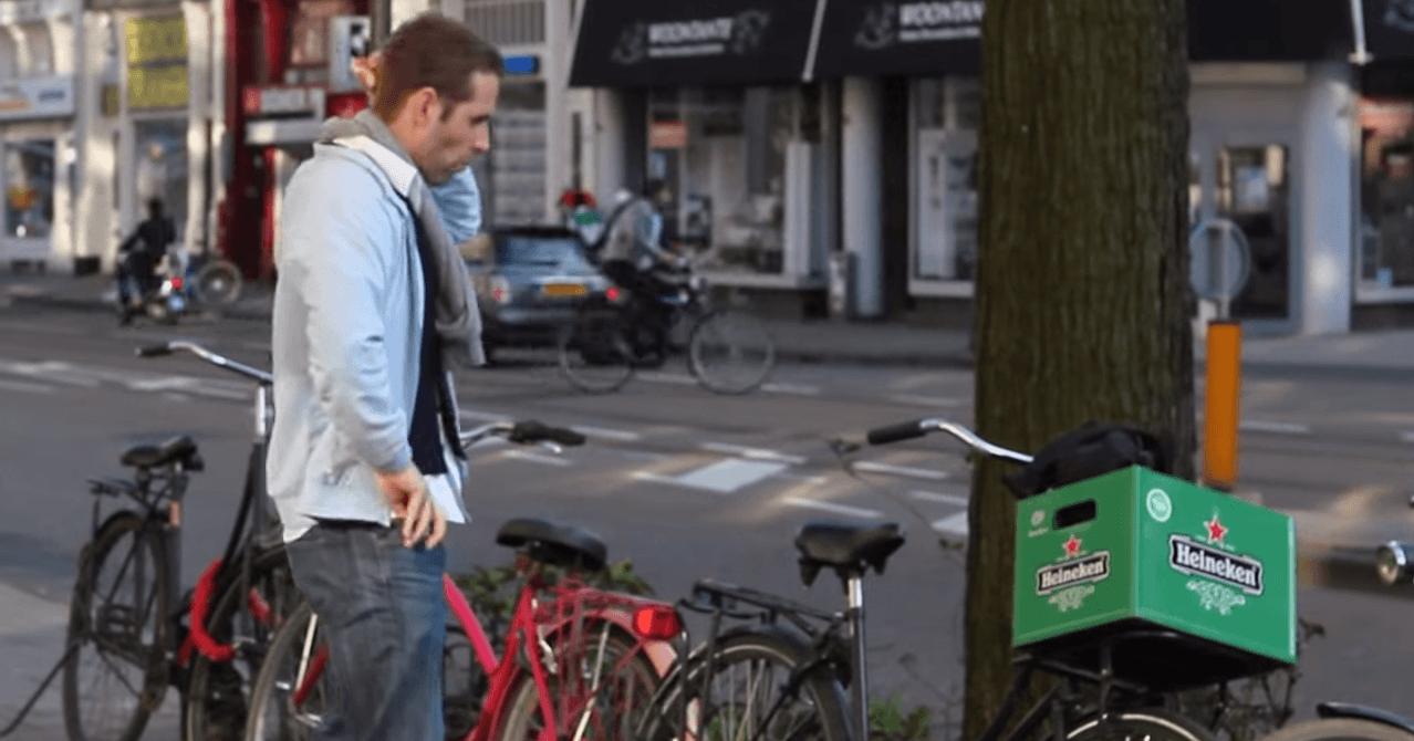 Heineken 1 aprl grap fietskrat