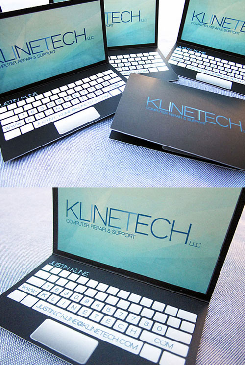creatief visitekaartje laptop
